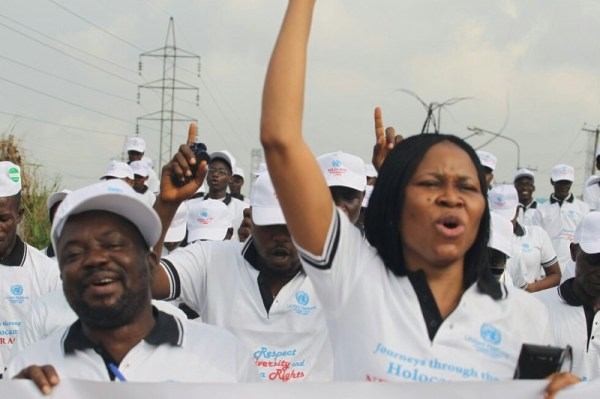 Joe Okei-Odumakin, President of Women Arise for Change Initiative, leading a protest against rape